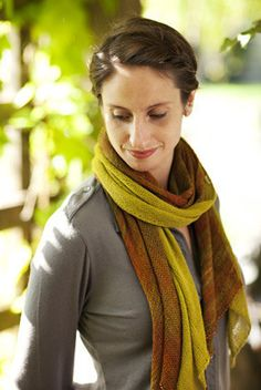 """Bias 'Before & After' Scarf """"Perfect for warmer days, or layer two for coziness."""" We dubbed this scarf 'before & after' because it's so ugly (truly!) before it's blocked and so beautiful after. Knitte"""