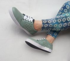mint leather shoes US 9.5 women soft green handmade Marapulai sneakers