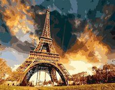 France Paris Eiffel Tower Painting in Numbers