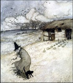 witch Vintage Arthur Rackham Black Cat Illustration