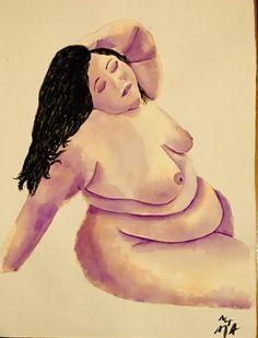"""Reclining beauty"", 770mm x570mm, watercolour, 19/10/17."