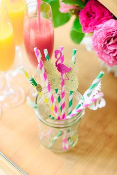 tropical inspired drink stirrers - photo by Madison Short Photography http://ruffledblog.com/sunny-palm-springs-wedding-inspiration