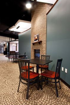 Church coffee shop...what if we set up several seating areas like this in back of fellowship hall?