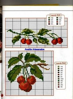 This Pin was discovered by Лес Cross Stitch Fruit, Cross Stitch Kitchen, Mini Cross Stitch, Cross Stitch Rose, Cross Stitch Borders, Cross Stitch Flowers, Cross Stitch Charts, Cross Stitch Designs, Cross Stitching