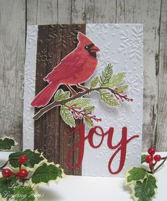 Card by Lin Brandyberry  (102516)  using (coordinating die and stamp) Hero Arts Joy; (e/f) Taylored Expressions Winter Flurry; (stamps) Hero Arts Color Layering Cardinal [background]