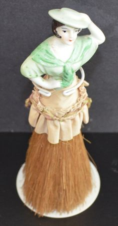 Porcelain Half Doll on Brush, Brush Doll, Antique Pin Cushion Doll, Half Doll Green Flapper, Porcelain Brush Doll