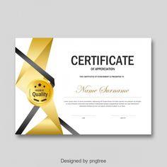 Black Fashion Personal Certificate Of Honor Certificate Border, Certificate Background, Certificate Of Achievement Template, Certificate Design Template, Certificate Frames, Gold Ribbons, Red Ribbon, Yohan Kim, Summer Banner