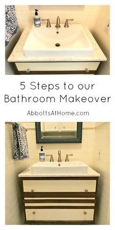 5 Steps to a Bathroom Makeover. #powderroom #bathroom #makeover