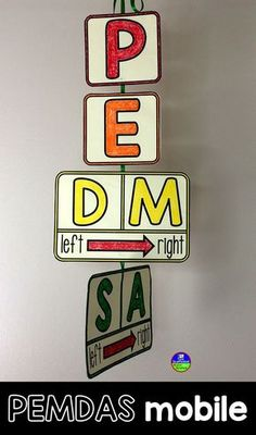 A Math Word Wall PEMDAS Mobile PEMDAS mobile for a math classroom word wall. Math classroom decor ca Classroom Word Wall, Math Word Walls, 5th Grade Classroom, School Classroom, Classroom Board, Bulletin Board, Math Classroom Decorations, Classroom Ideas, High School Decorations