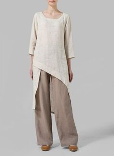 Linen Asymmetrical Tunic - Fluttery, romantic and displaying the refined tailoring of VIVID Linen. Cascading detail for graceful movement with each step.