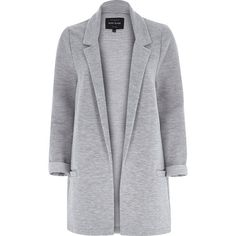River Island Light grey jersey jacket (107,600 KRW) ❤ liked on Polyvore featuring outerwear, jackets, coats, blazers, casacos, grey, coats / jackets, women, light grey jacket and jersey jacket