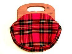 Vintage 1960s Red Tartan Plaid Wool Purse by transmigrationbotiga