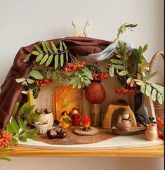 Nature table, Peg dolls, Make blanket Blanket Fort, Make Blanket, Wooden Fort, Waldorf Crafts, Toddler Classroom, Seasonal Celebration, Small World Play, Nature Table, Diy Cardboard