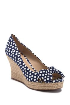 0b1a237a52ea Tory Burch - Dory Peep Toe Polka Dot Espadrille Wedge Sandal is now 50% off