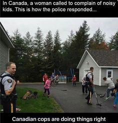Police in Canada be like we don't do anything we just play hockey XD Canadian Memes, Canadian Things, I Am Canadian, Canadian Humour, Canada Jokes, Canada Funny, O Canada, Funny Hockey Memes, Funny Jokes