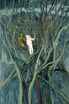 """thunderstruck9: """" Peter Doig (British, b. 1959), Girl in White with Trees, 2001-02. Oil on canvas, 300 x 200 cm. source """""""