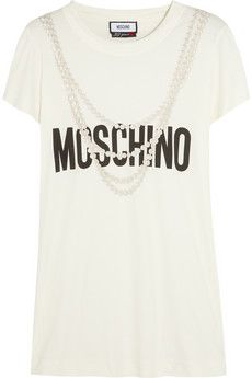 Moschino Printed cotton-jersey T-shirt | NET-A-PORTER - Moschino's cool riff on the logo T-shirt is printed with trompe l'oeil strings of pearls.
