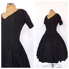 Vintage 1950s Anne Fogarty Little Black Dress Silk Taffeta Party Dress 50s Cocktail Dress Mad Men Cupcake Prom Dress Full Skirt Rockabilly