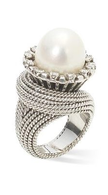 A cultured pearl and diamond ring, by Sterlé, circa 1960 The central 12.0mm cultured pearl within a raised border of baguette and single-cut diamonds, to a wide rope-twist hoop, diamonds approximately 0.50 carat total, signed Sterlé Paris, numbered,