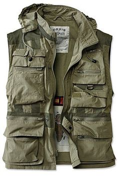 Orvis Ultimate Travel Jacket // Besides the obvious merit of another warmth layer this vest allows you to cary essential items in a low profile manner. It also does a good job of concealing any holsters on your belt. Properly configured this vest could carry all 5 C's of survival and then some without bulk.