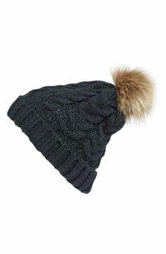 f2a0fe9064cca Knit Beanie with Faux Fur Pompom