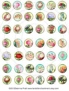 Romantic  1 inch Circles Digital Collage by LandofEnchantment, $4.49