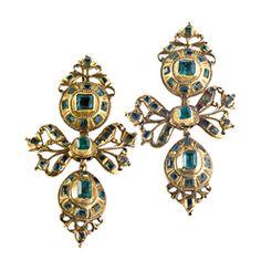 Earrings; Antique, Portuguese, Gold Mount, Emeralds, Open Bows & Drops.
