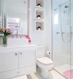 Omit the pink, and this can be great for a small bathroom. Construindo Minha Casa Clean: Banheiros e Lavabos! Decor, House, Home N Decor, New Homes, Home Decor, Home Deco, Bathroom Design, Bathroom Decor, Small Bathroom Remodel
