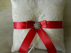 Wedding Ring Bearer Pillow Scarlet Red And Ivory by GartersByTania, $34.00