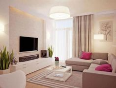 Wohnzimmer in weiß und beige gehalten – Home Entertainment System in schwarz – Decoração Geométrica Beige Living Rooms, Small Living Rooms, Home Living Room, Apartment Living, Interior Design Living Room, Living Room Decor For Small Apartment, Ideas For Living Room, Beige And White Living Room, Apartment Ideas