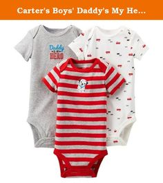 6347128a5 Carter's Boys' Daddy's My Hero/Fire Truck 3 pack Short-sleeve Bodysuit Set  - Red/Gray Months). Carter's Boys' Daddy's My Hero/Fire Truck 3 pack  Short-sleeve ...