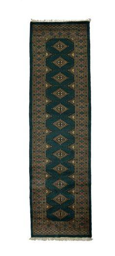 2.5x10 Green Bokhara Oriental Rug