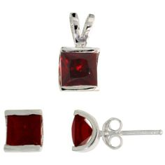 Sterling Silver Square-shaped Stud Earrings (7mm) & Pendant (12mm tall) Set, w/ Princess Cut Ruby-colored CZ Stones Sabrina Silver. $32.63