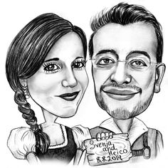 Customized caricatures drawing for up to 4 people black and black and white caricature by photolamus voltagebd Images