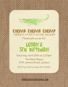 Alligator, Crocodile or Swamp Party Birthday Party Baby Shower Alligator Invitation Swamp Invitation www.BabadooDesigns.com