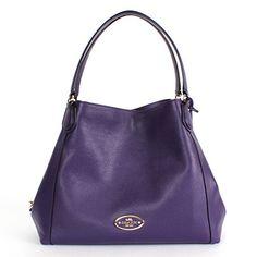 Coach 33547 Edie Pebbled Leather Shoulder Bag Gold/violet