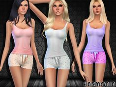 Created By Harmonia Girlish Two-piece Pyjamas Set Ultra-comfy and cute, this supersoft pj set pairs a comfy cami with shorts. 6 different colors http://www.thesimsresource.com/downloads/1289172