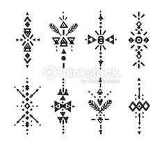 Vector Tribal Hand Drawn elements, ethnic collection, aztec style, tribal art, Flash Tattoo isolated on white background - compre este vetor na Shutterstock e encontre outras imagens. Aztec Tribal Tattoos, Tribal Tattoos For Women, Arte Tribal, Tribal Tattoo Designs, Trendy Tattoos, Tribal Symbols, Thai Tattoo, Tattoo Aztecas, Tattoo Band