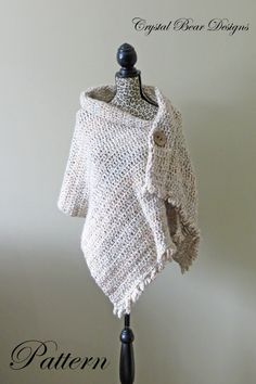 """Crochet Shawl PATTERN / Button Wrap / Poncho / Easy Beginner / PDF Pattern / Made in Canada / """"Dresden Wrap""""                                                                                                                                                                                 More"""