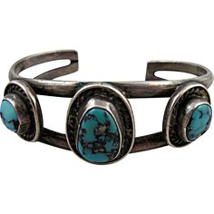 Vintage Native American Silver Cuff Bracelet with Turquoise. Just one of the things on sale this week at San Marcos on Ruby Lane.