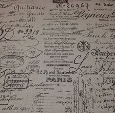 "BALLARD DESIGNS DOCUMENT BROWN FRENCH SCRIPT DESIGNER FABRIC BY THE YARD 55"" W #BallardDesigns"