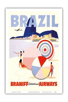 Amazon.com: Rio de Janeiro Brazil - Braniff International Airways - Vintage Airline Travel Poster c.1950s - Master Art Print - 12in x 18in: Artwork: Posters & Prints