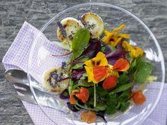 Ziegenkäsesalat mit Lavendel-Dressing & Blüten: Durch den Käse ist der Salat sättigend und kalziumhaltig: Eine Portion deckt 1/4 unseres Tagesbedarfs.