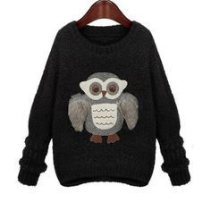 Black Womens Crewneck Batwing Sleeve Owl Pattern Knitting Pullover Loose Sweater