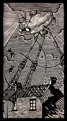 War of the Worlds Woodblock Print: Woodblock Emporium. LOVE these!