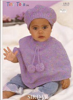 Sirdar Tiny Tots DK Knitting Pattern 1513 Poncho & Beret NB-6Y