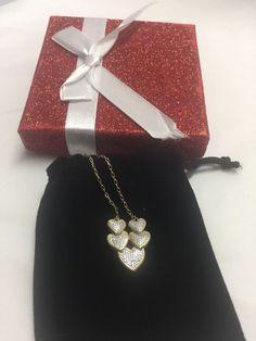 "Heart Necklace Cluster Silver Over Bronze Diamond 18"" Ladies Fine Jewelry Gift  | eBay"