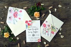 Belly Band Wedding Invitation Suite by AquarelaStationery on Etsy