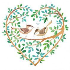 Birds in Tree Heart (Helen Rowe) Heart Illustration, Garden Illustration, Heart Art, Bird Art, Cute Art, Painting & Drawing, Illustrators, Folk Art, Watercolor Paintings