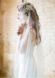 Long hair wedding ideas, vintage veil inspiration, Sibo Designs 2014. Photography: Brumley & Wells. Styling: Ciara O'Halloran